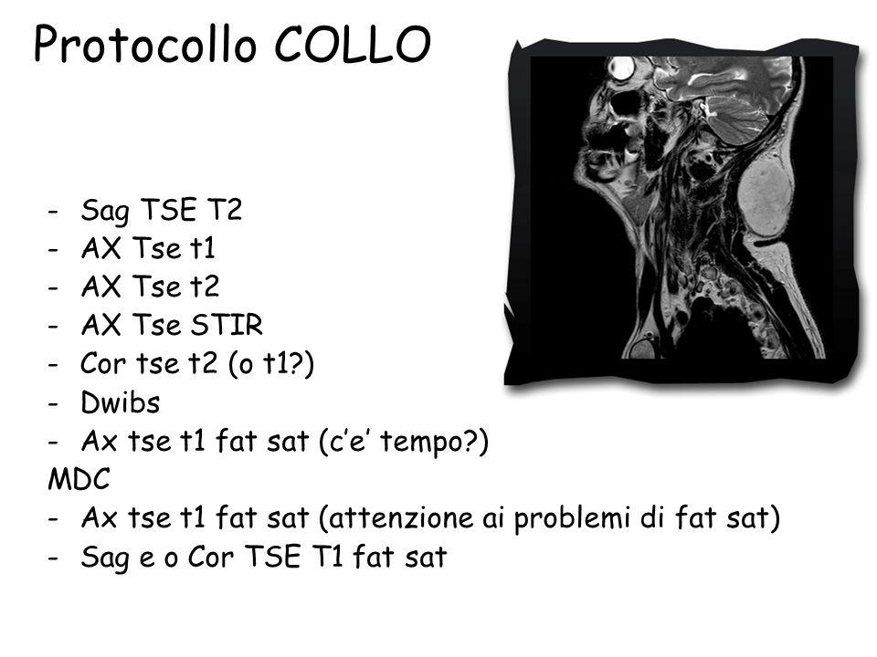 Protocollo COLLO -Sag TSE T2 -AX Tse t1 -AX Tse t2 -AX Tse STIR -Cor tse t2 (o t1?) -Dwibs -Ax tse t1 fat sat (c'e' tempo?) MDC -Ax tse t1 fat sat (attenzione ai problemi di fat sat) -Sag e o Cor TSE T1 fat sat