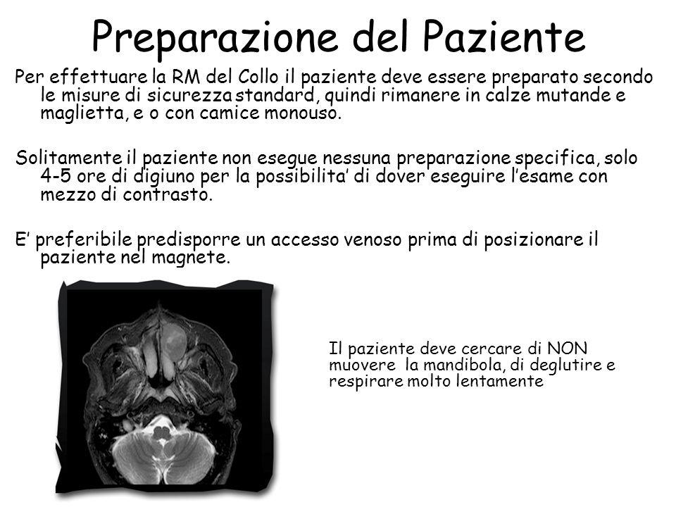 Preparazione del Paziente Per effettuare la RM del Collo il paziente deve essere preparato secondo le misure di sicurezza standard, quindi rimanere in