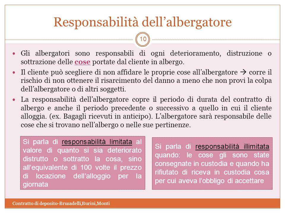 Responsabilità dell'albergatore Contratto di deposito-Brusadelli,Burini,Monti 10 Gli albergatori sono responsabili di ogni deterioramento, distruzione o sottrazione delle cose portate dal cliente in albergo.