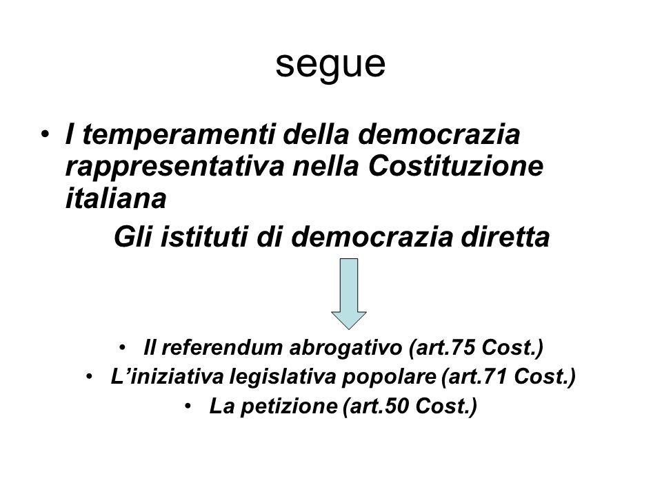 segue I temperamenti della democrazia rappresentativa nella Costituzione italiana Gli istituti di democrazia diretta Il referendum abrogativo (art.75 Cost.) L'iniziativa legislativa popolare (art.71 Cost.) La petizione (art.50 Cost.)
