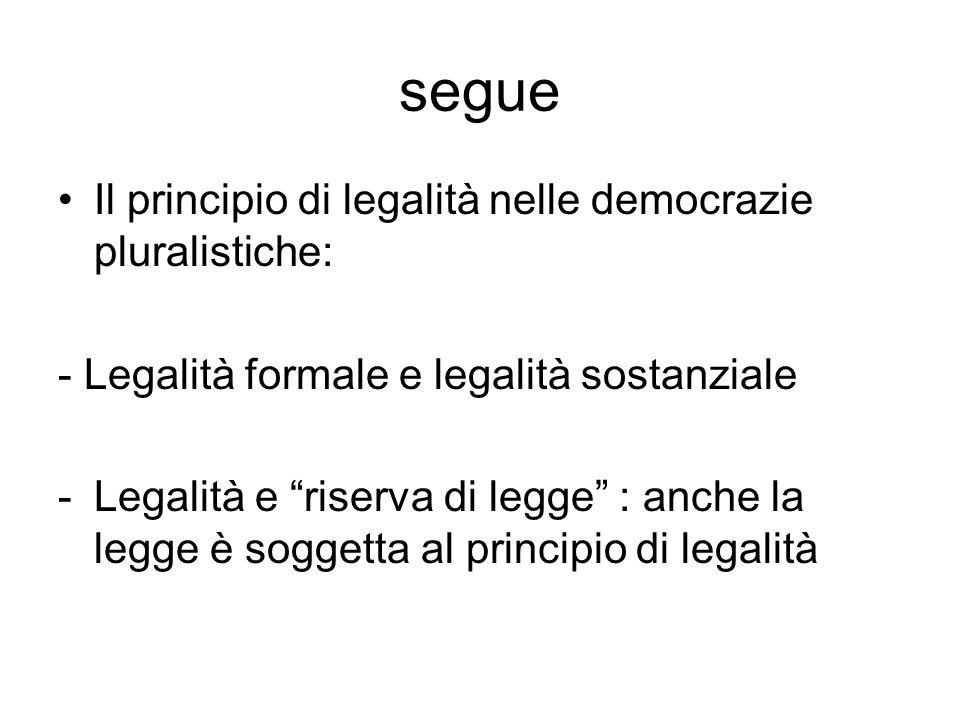 segue Il principio di legalità nelle democrazie pluralistiche: - Legalità formale e legalità sostanziale -Legalità e riserva di legge : anche la legge è soggetta al principio di legalità