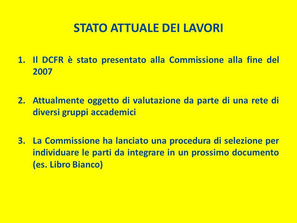 STATO ATTUALE DEI LAVORI 1.Il DCFR è stato presentato alla Commissione alla fine del 2007 2.Attualmente oggetto di valutazione da parte di una rete di diversi gruppi accademici 3.La Commissione ha lanciato una procedura di selezione per individuare le parti da integrare in un prossimo documento (es.