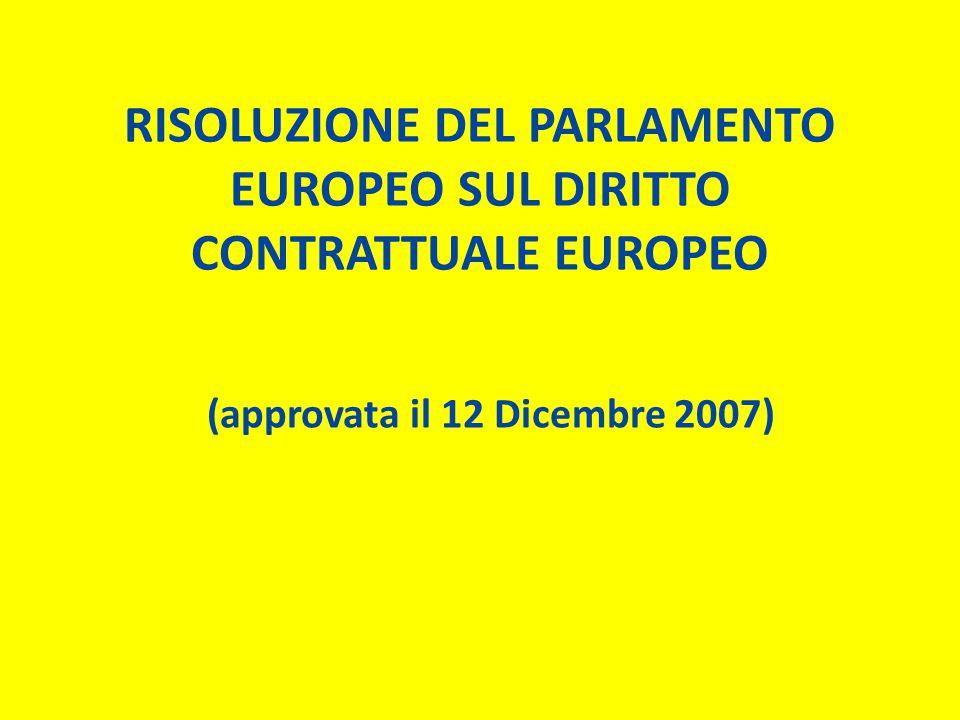 ANTEFATTO: Seconda relazione sullo stato di avanzamento relativo al quadro comune di riferimento (COM(2007)0447): ↓ 1.Ribadita la PRIORITà al lavoro del CFR sui temi che riguardano i CONTRATTI DEI CONSUMATORI 2.Ribadito il concetto di CFR quale strumento volto ad una MIGLIORE REGOLAMENTAZIONE, NON ad un' ARMONIZZAZIONE SU VASTA SCALA del diritto privato europeo (no Codice Civile europeo!) 3.Presentazione ORGANIGRAMMA richiesto dal Parlamento
