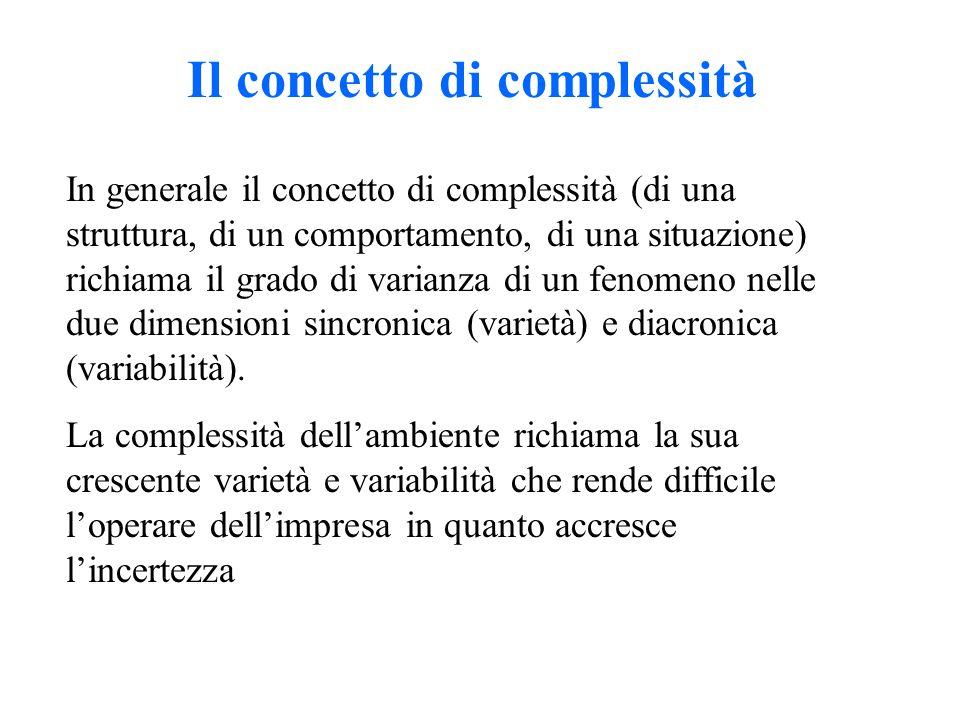 Il concetto di complessità In generale il concetto di complessità (di una struttura, di un comportamento, di una situazione) richiama il grado di vari