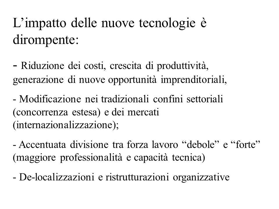 L'impatto delle nuove tecnologie è dirompente: - Riduzione dei costi, crescita di produttività, generazione di nuove opportunità imprenditoriali, - Mo
