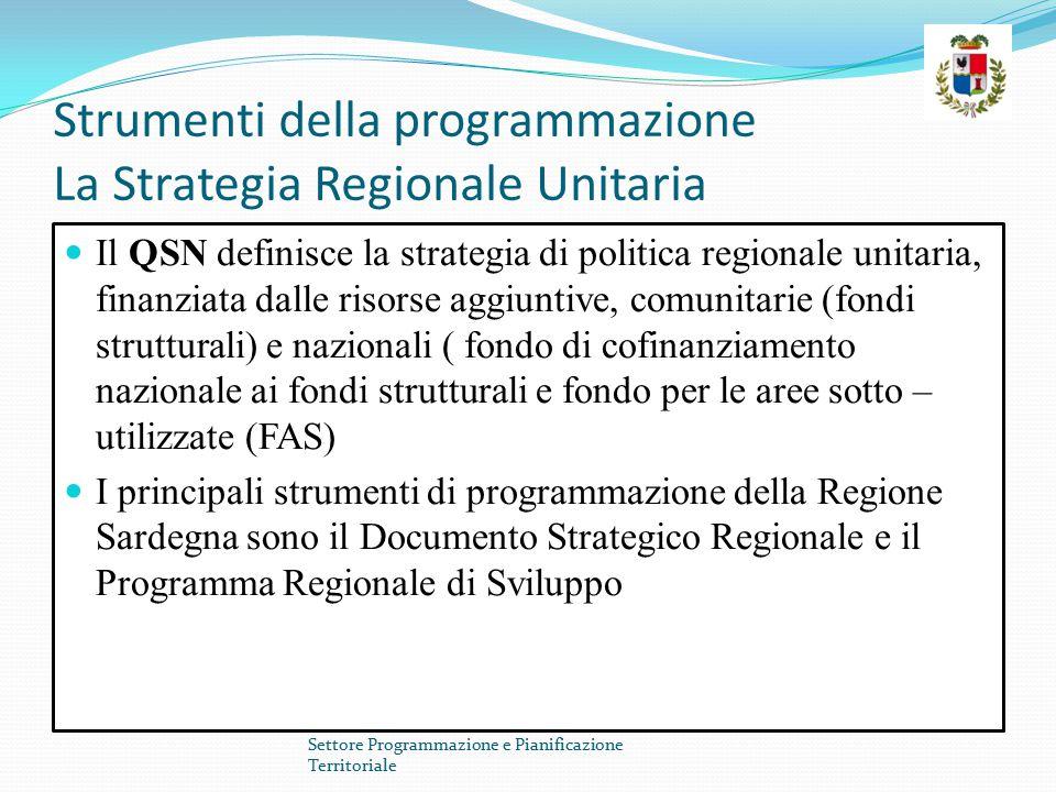 Strumenti della programmazione La Strategia Regionale Unitaria Il QSN definisce la strategia di politica regionale unitaria, finanziata dalle risorse