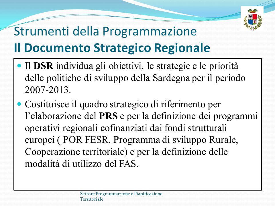 Strumenti della Programmazione Il Documento Strategico Regionale Il DSR individua gli obiettivi, le strategie e le priorità delle politiche di svilupp