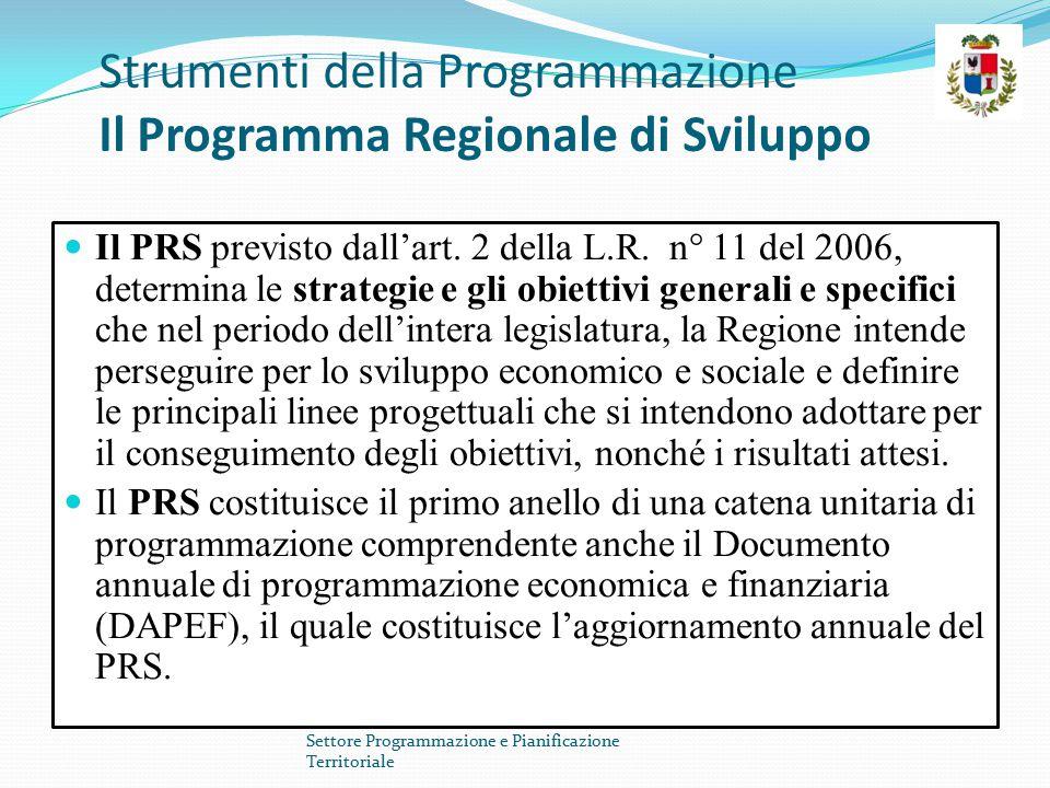 Strumenti della Programmazione Il Programma Regionale di Sviluppo Il PRS previsto dall'art. 2 della L.R. n° 11 del 2006, determina le strategie e gli