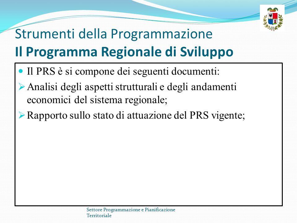 Strumenti della Programmazione Il Programma Regionale di Sviluppo Il PRS è si compone dei seguenti documenti:  Analisi degli aspetti strutturali e degli andamenti economici del sistema regionale;  Rapporto sullo stato di attuazione del PRS vigente; Settore Programmazione e Pianificazione Territoriale