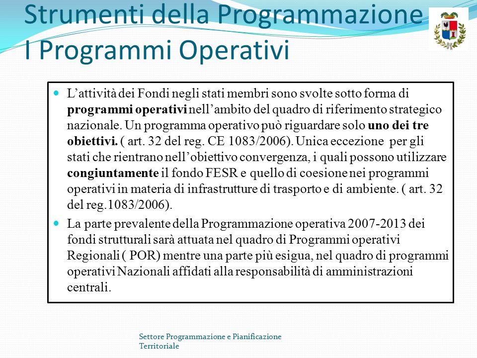 Strumenti della Programmazione I Programmi Operativi I programmi operativi Regionali sono monofondo ossia finanziati o da fondi FESR o dal FSE ( art.