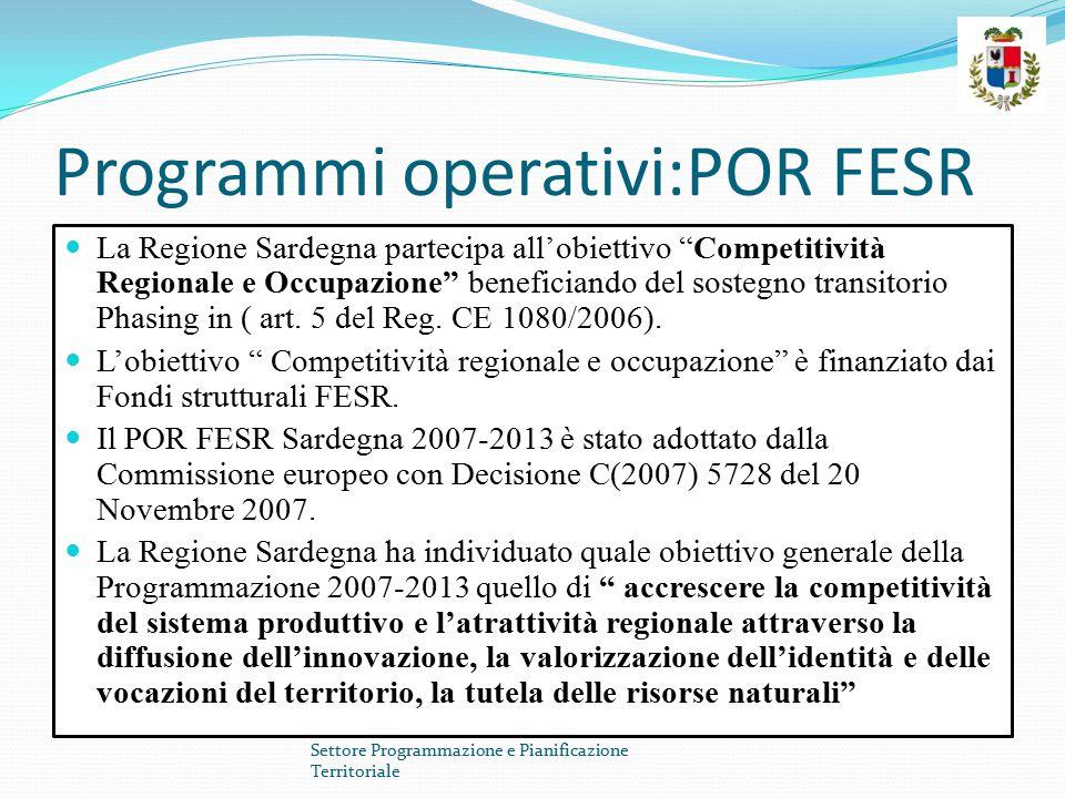 """Programmi operativi:POR FESR La Regione Sardegna partecipa all'obiettivo """"Competitività Regionale e Occupazione"""" beneficiando del sostegno transitorio"""