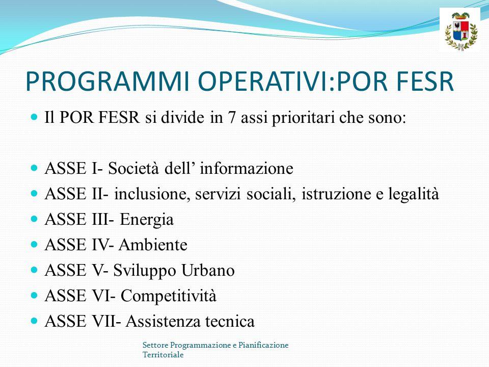 PROGRAMMI OPERATIVI:POR FESR Il POR FESR si divide in 7 assi prioritari che sono: ASSE I- Società dell' informazione ASSE II- inclusione, servizi soci