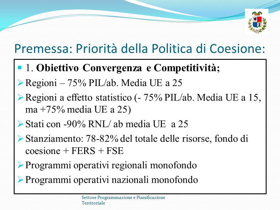 Premessa: Priorità della Politica di Coesione: 1. Obiettivo Convergenza e Competitività ;  Regioni – 75% PIL/ab. Media UE a 25  Regioni a effetto st