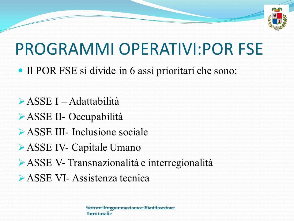 PROGRAMMI OPERATIVI:POR FSE Il POR FSE si divide in 6 assi prioritari che sono:  ASSE I – Adattabilità  ASSE II- Occupabilità  ASSE III- Inclusione