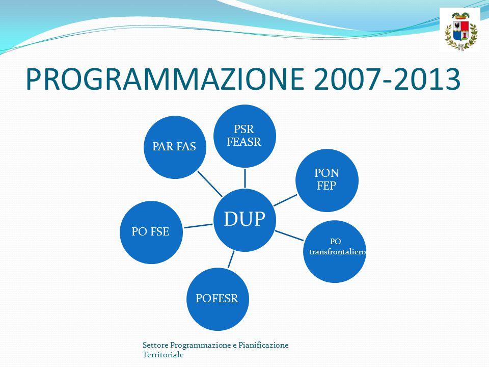 PROGRAMMAZIONE 2007-2013 DUP PSR FEASR PON FEP POFESRPO FSEPAR FAS Settore Programmazione e Pianificazione Territoriale PO transfrontaliero