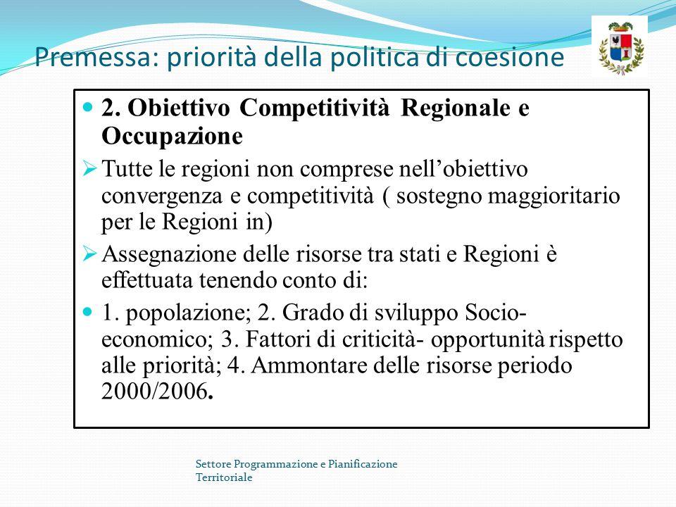 Premessa: priorità della politica di coesione 2. Obiettivo Competitività Regionale e Occupazione  Tutte le regioni non comprese nell'obiettivo conver