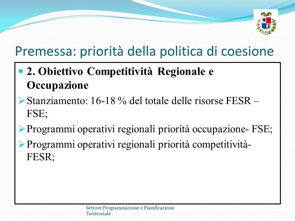 Premessa: priorità della politica di coesione 2. Obiettivo Competitività Regionale e Occupazione  Stanziamento: 16-18 % del totale delle risorse FESR