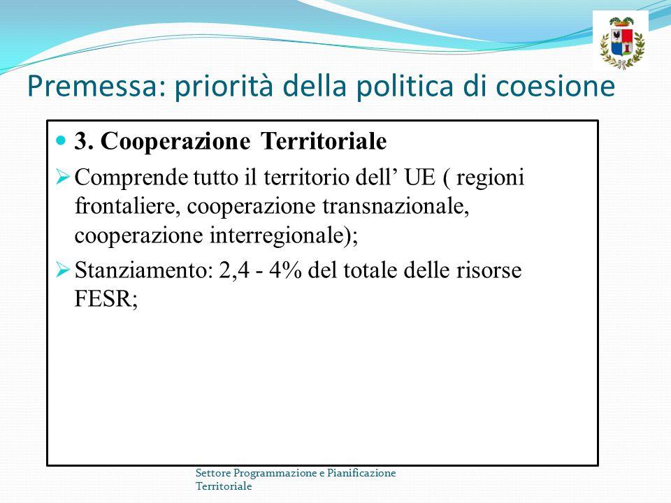 Premessa: priorità della politica di coesione 3. Cooperazione Territoriale  Comprende tutto il territorio dell' UE ( regioni frontaliere, cooperazion
