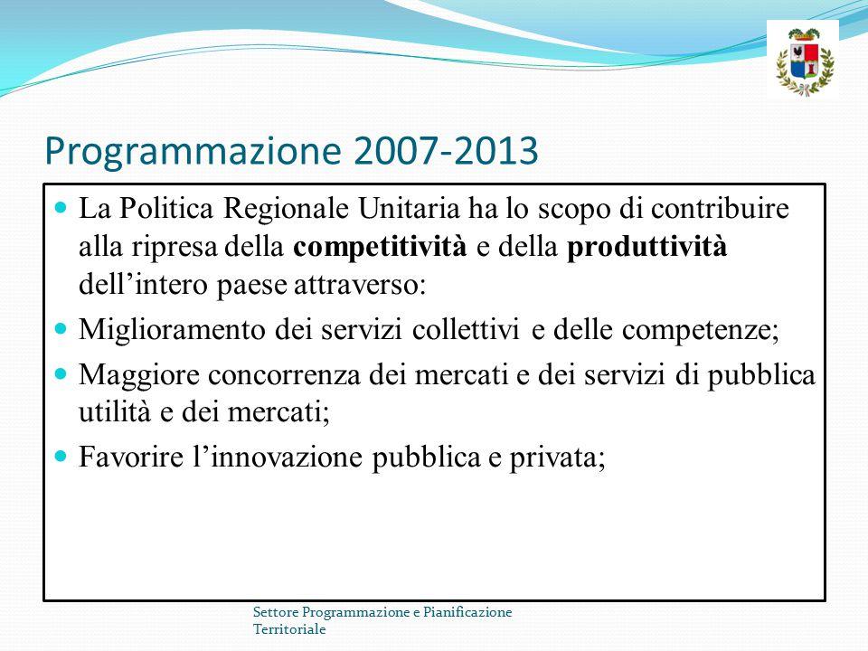 Programmazione 2007-2013 La Politica Regionale Unitaria ha lo scopo di contribuire alla ripresa della competitività e della produttività dell'intero paese attraverso: Miglioramento dei servizi collettivi e delle competenze; Maggiore concorrenza dei mercati e dei servizi di pubblica utilità e dei mercati; Favorire l'innovazione pubblica e privata; Settore Programmazione e Pianificazione Territoriale