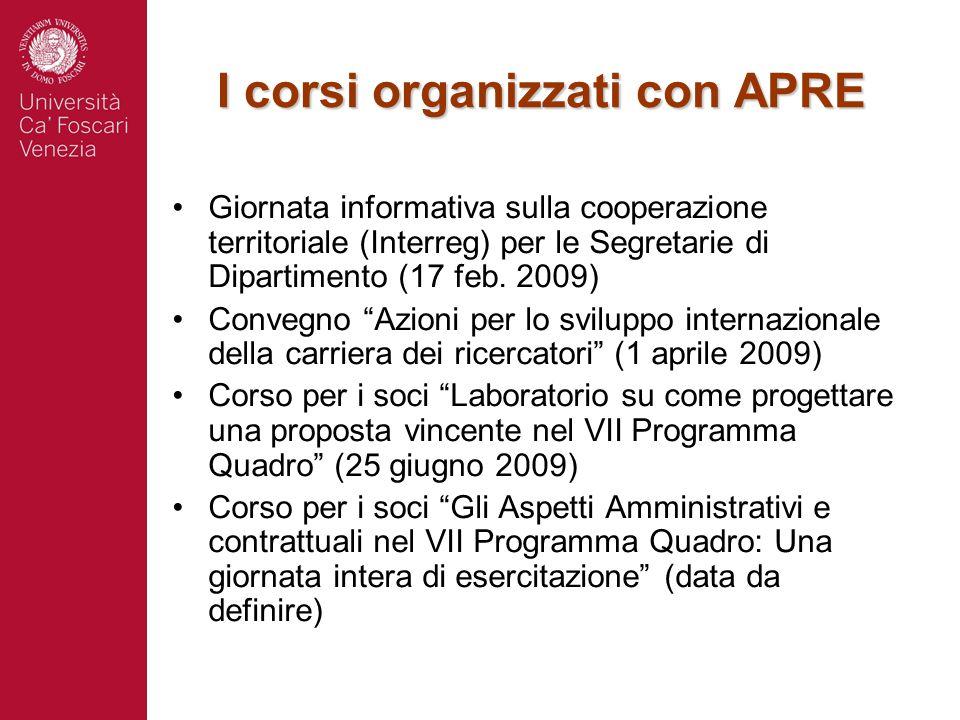 I corsi organizzati con APRE Giornata informativa sulla cooperazione territoriale (Interreg) per le Segretarie di Dipartimento (17 feb. 2009) Convegno