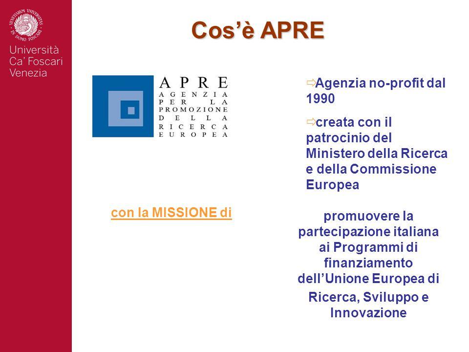  Agenzia no-profit dal 1990  creata con il patrocinio del Ministero della Ricerca e della Commissione Europea promuovere la partecipazione italiana
