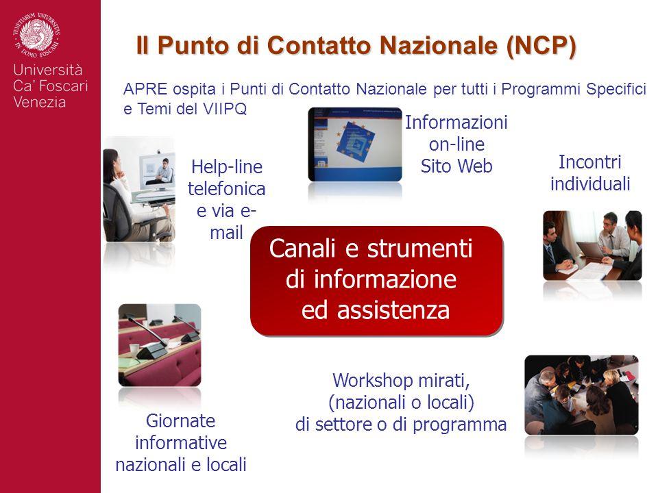 Il Punto di Contatto Nazionale (NCP) Giornate informative nazionali e locali Workshop mirati, (nazionali o locali) di settore o di programma Help-line