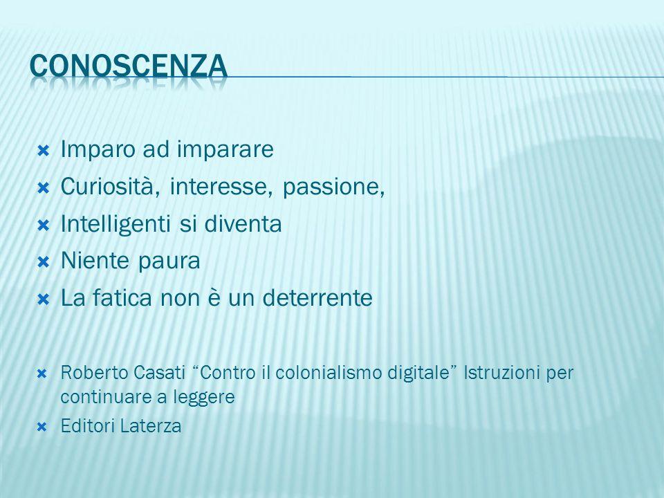 """ Imparo ad imparare  Curiosità, interesse, passione,  Intelligenti si diventa  Niente paura  La fatica non è un deterrente  Roberto Casati """"Cont"""