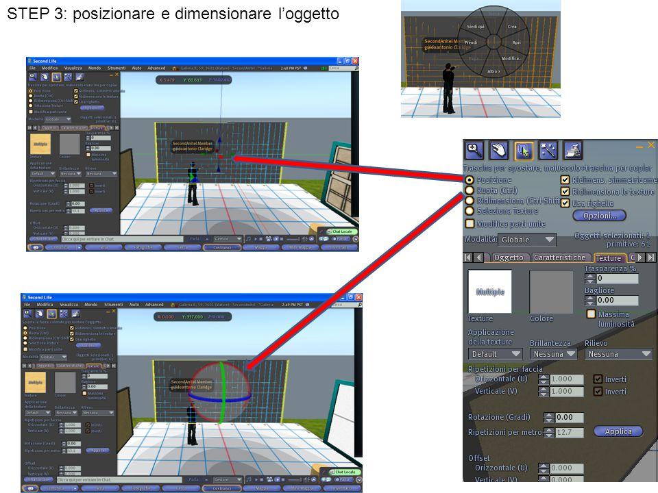 STEP 3: posizionare e dimensionare l'oggetto