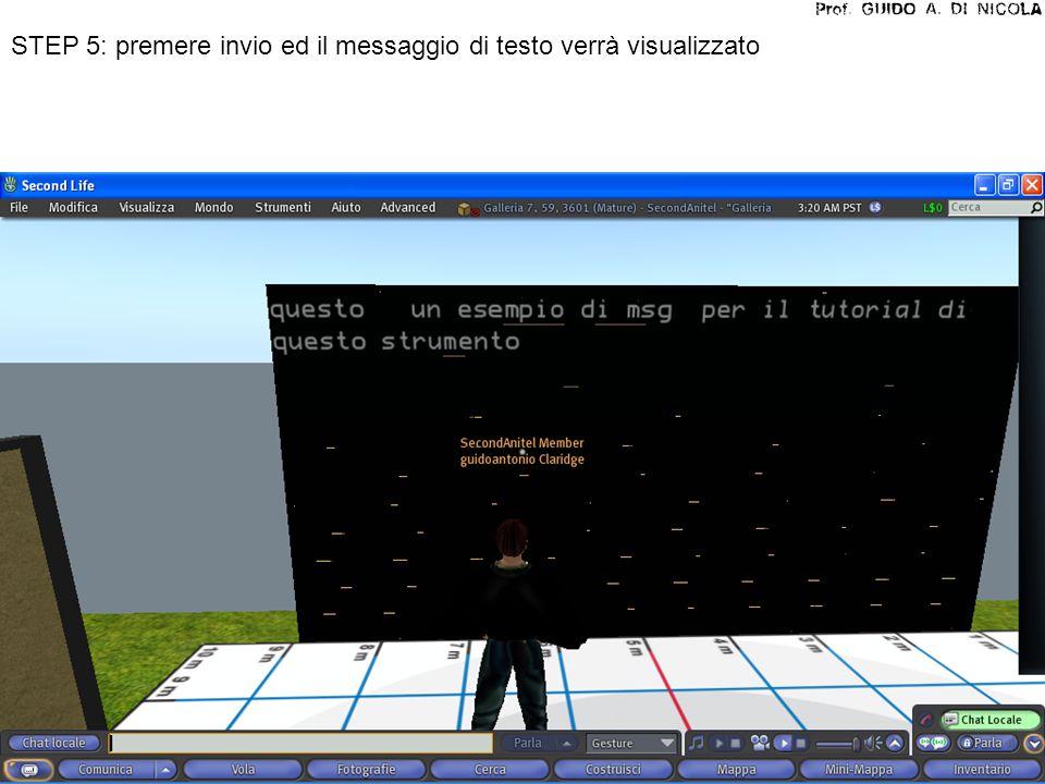 STEP 5: premere invio ed il messaggio di testo verrà visualizzato