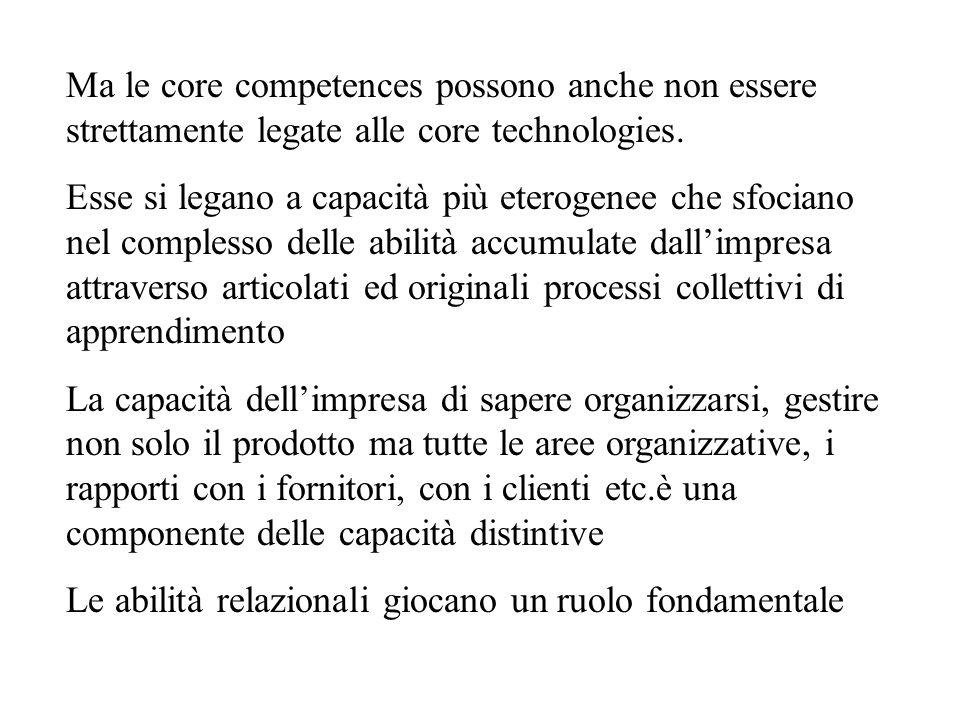 Ma le core competences possono anche non essere strettamente legate alle core technologies. Esse si legano a capacità più eterogenee che sfociano nel