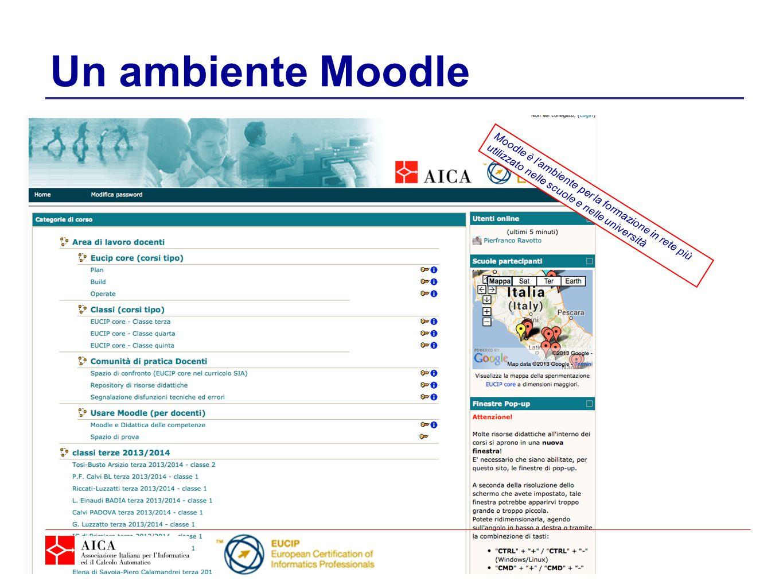 Un ambiente Moodle Moodle è l'ambiente per la formazione in rete più utilizzato nelle scuole e nelle università