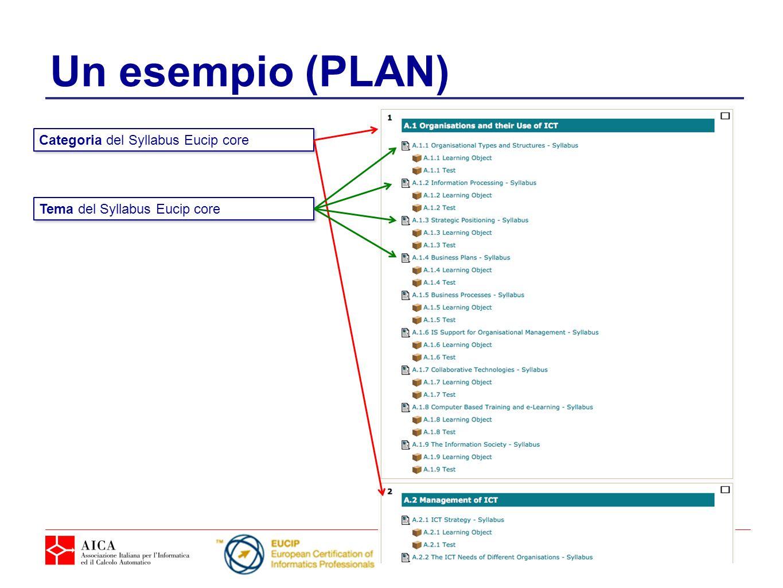 Un esempio (PLAN) Categoria del Syllabus Eucip core Tema del Syllabus Eucip core