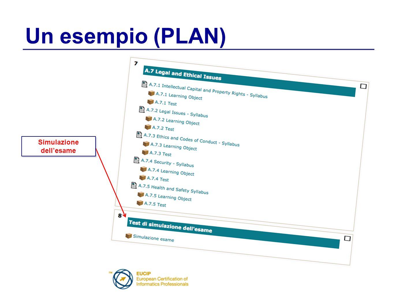 Un esempio (PLAN) Simulazione dell'esame