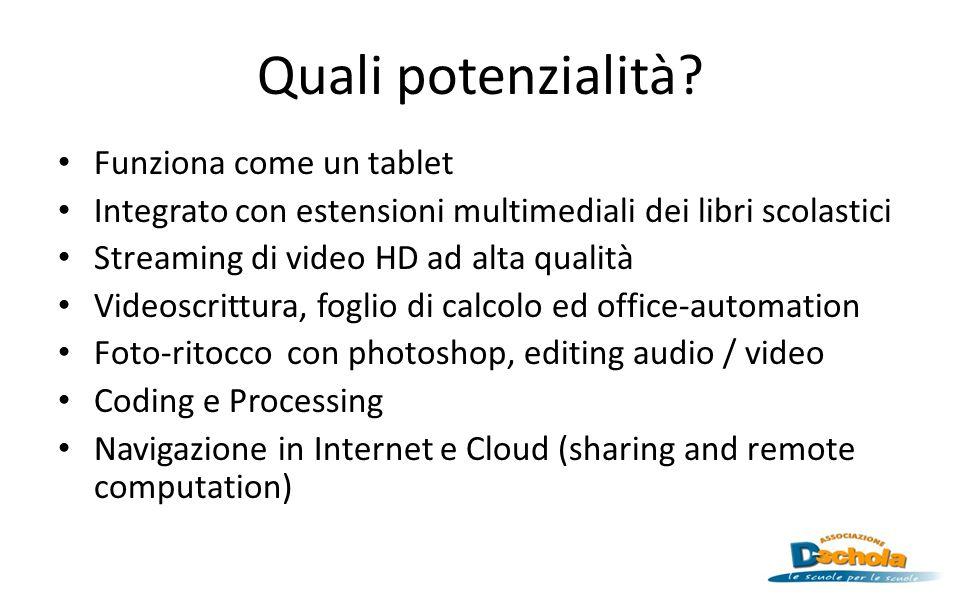 Quali potenzialità? Funziona come un tablet Integrato con estensioni multimediali dei libri scolastici Streaming di video HD ad alta qualità Videoscri