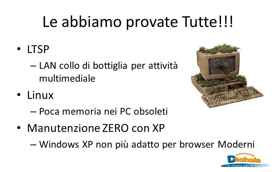 Le abbiamo provate Tutte!!! LTSP – LAN collo di bottiglia per attività multimediale Linux – Poca memoria nei PC obsoleti Manutenzione ZERO con XP – Wi
