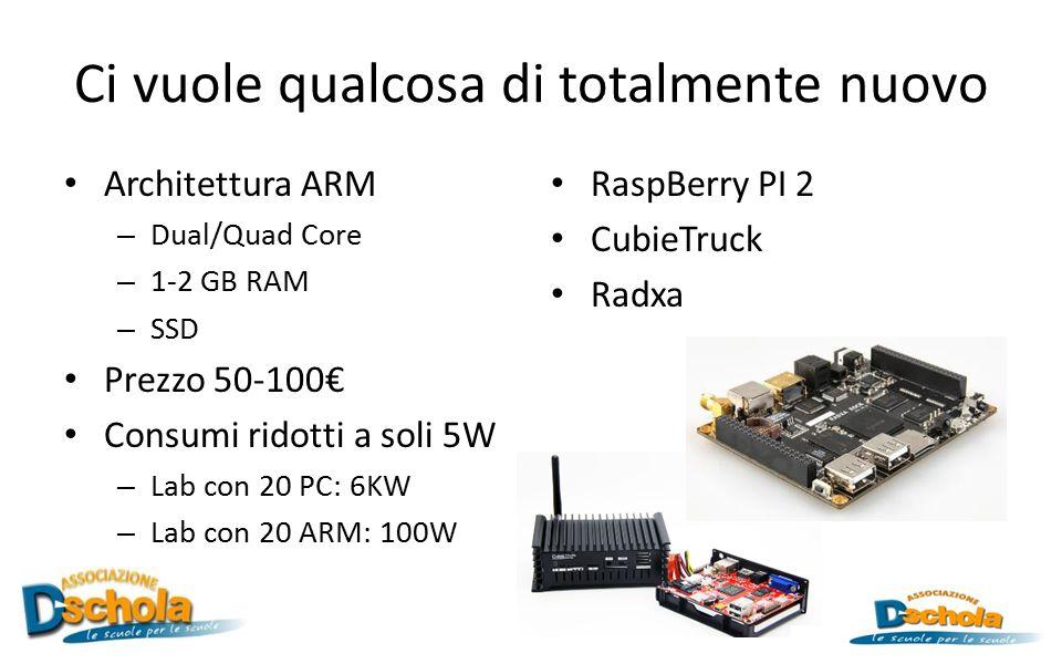 Ci vuole qualcosa di totalmente nuovo Architettura ARM – Dual/Quad Core – 1-2 GB RAM – SSD Prezzo 50-100€ Consumi ridotti a soli 5W – Lab con 20 PC: 6