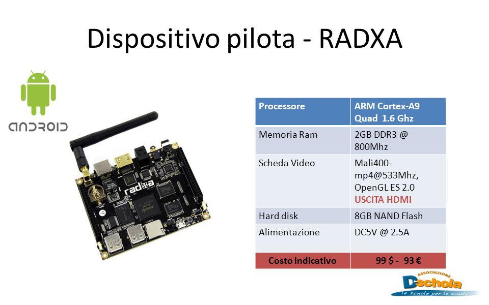 Dispositivo pilota - RADXA ProcessoreARM Cortex-A9 Quad 1.6 Ghz Memoria Ram2GB DDR3 @ 800Mhz Scheda VideoMali400- mp4@533Mhz, OpenGL ES 2.0 USCITA HDM