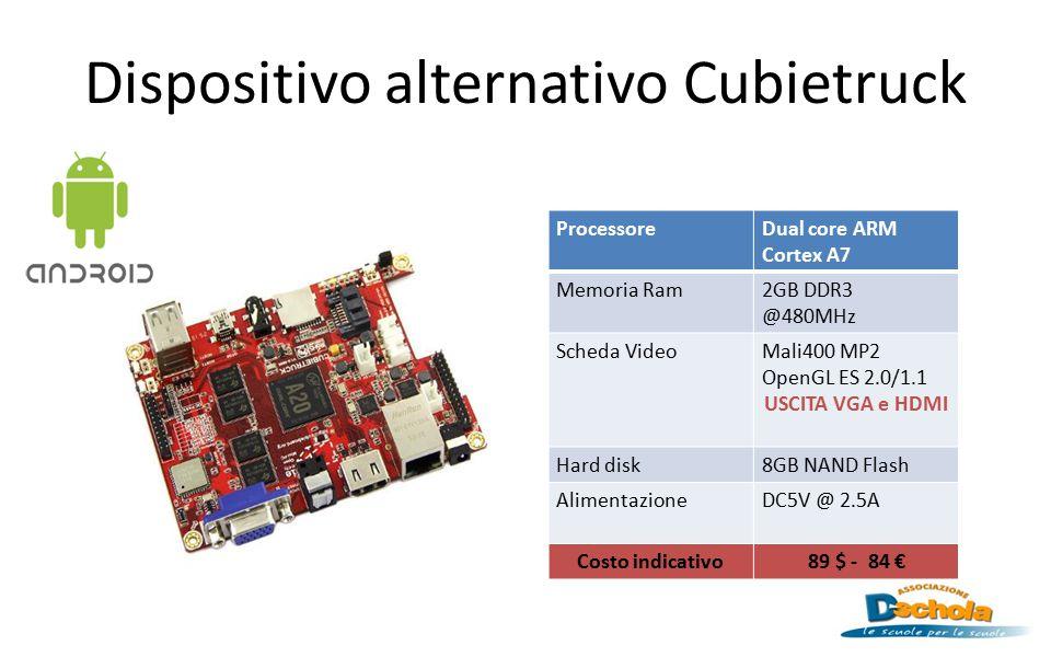 Dispositivo alternativo Cubietruck ProcessoreDual core ARM Cortex A7 Memoria Ram2GB DDR3 @480MHz Scheda VideoMali400 MP2 OpenGL ES 2.0/1.1 USCITA VGA