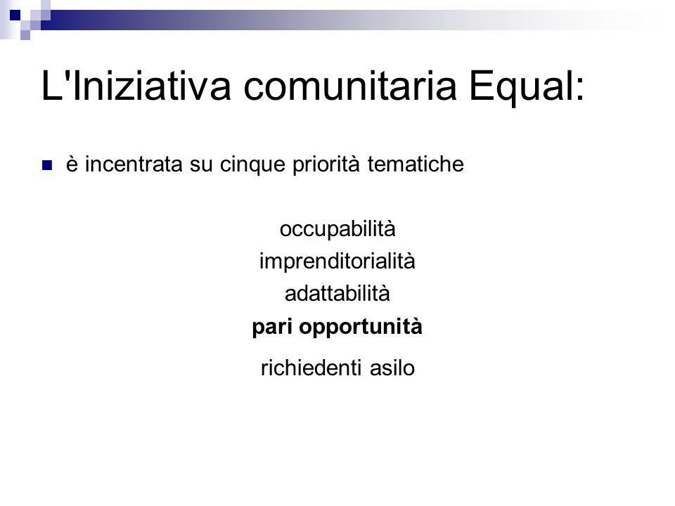 L Iniziativa comunitaria Equal: è incentrata su cinque priorità tematiche occupabilità imprenditorialità adattabilità pari opportunità richiedenti asilo