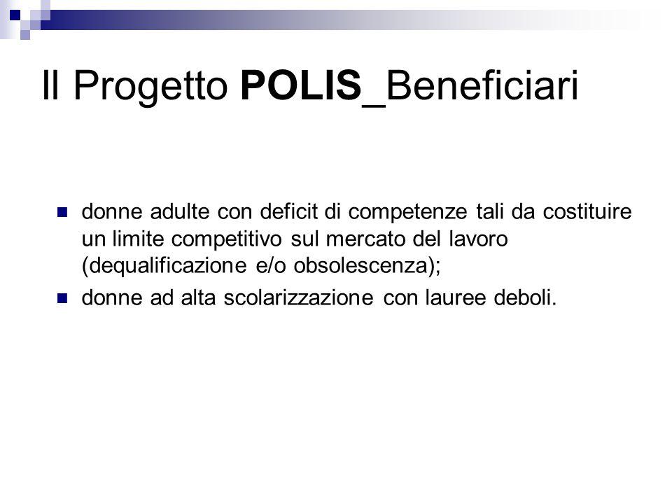 Il Progetto POLIS_Beneficiari donne adulte con deficit di competenze tali da costituire un limite competitivo sul mercato del lavoro (dequalificazione e/o obsolescenza); donne ad alta scolarizzazione con lauree deboli.