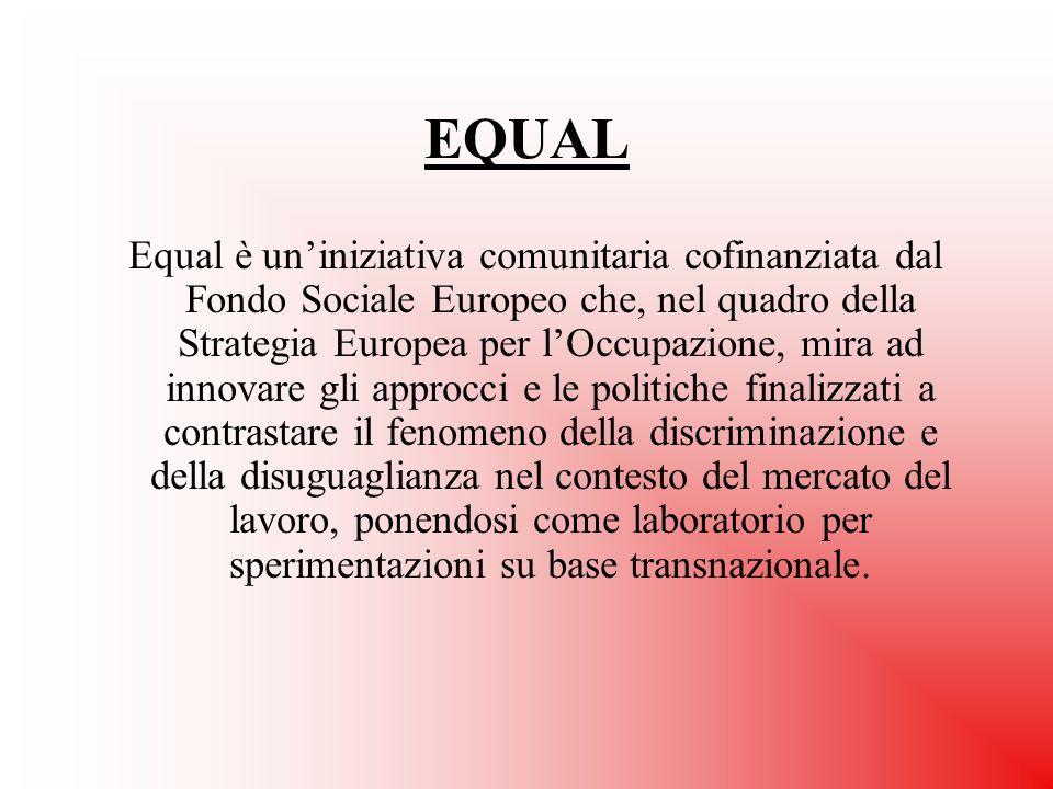 EQUAL Equal è un'iniziativa comunitaria cofinanziata dal Fondo Sociale Europeo che, nel quadro della Strategia Europea per l'Occupazione, mira ad inno