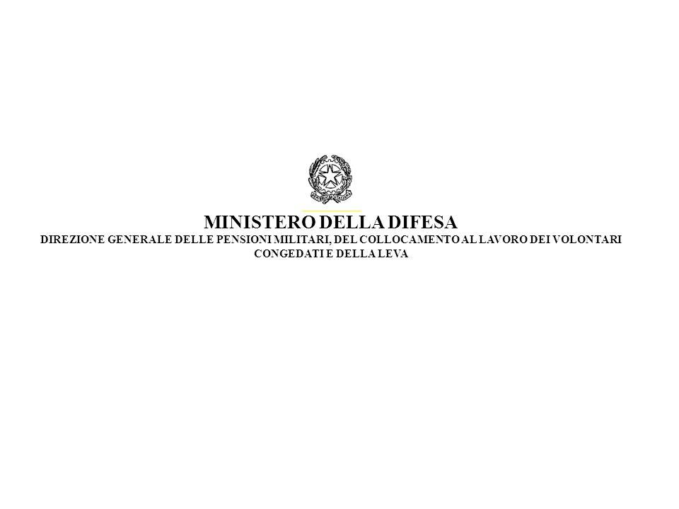 MINISTERO DELLA DIFESA DIREZIONE GENERALE DELLE PENSIONI MILITARI, DEL COLLOCAMENTO AL LAVORO DEI VOLONTARI CONGEDATI E DELLA LEVA
