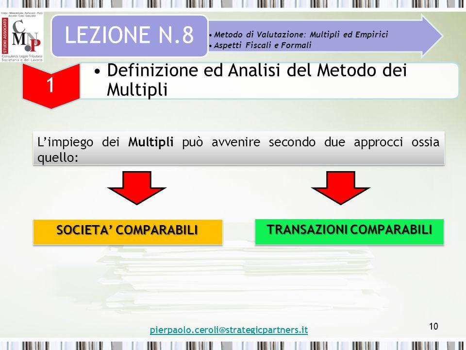 pierpaolo.ceroli@strategicpartners.it 10 Metodo di Valutazione: Multipli ed Empirici Aspetti Fiscali e Formali LEZIONE N.8 1 Definizione ed Analisi de