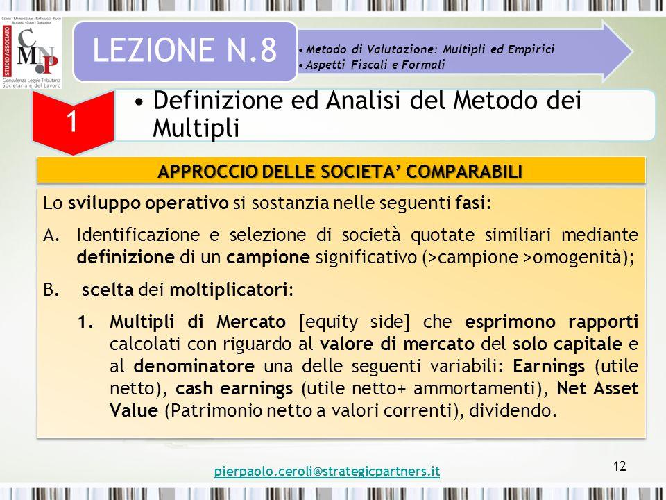 pierpaolo.ceroli@strategicpartners.it 12 Metodo di Valutazione: Multipli ed Empirici Aspetti Fiscali e Formali LEZIONE N.8 1 Definizione ed Analisi de