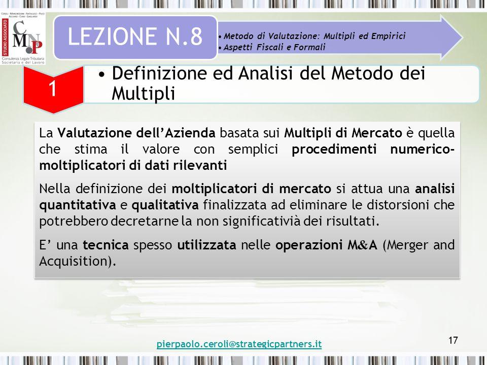 pierpaolo.ceroli@strategicpartners.it 17 Metodo di Valutazione: Multipli ed Empirici Aspetti Fiscali e Formali LEZIONE N.8 1 Definizione ed Analisi de