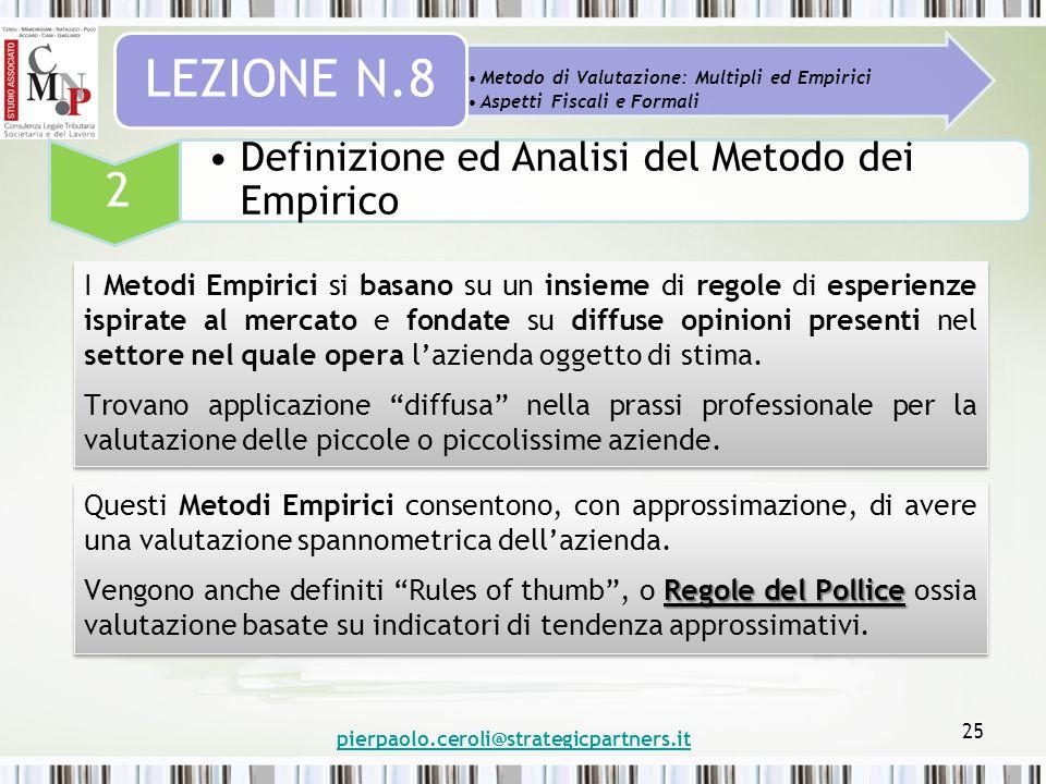 pierpaolo.ceroli@strategicpartners.it 25 Metodo di Valutazione: Multipli ed Empirici Aspetti Fiscali e Formali LEZIONE N.8 2 Definizione ed Analisi de
