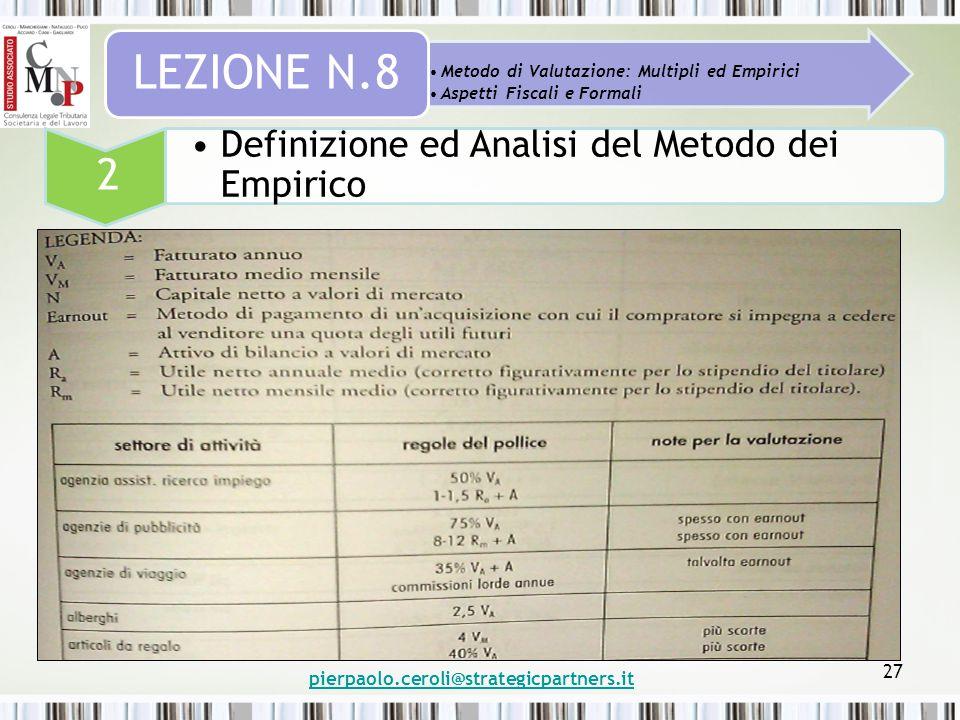 pierpaolo.ceroli@strategicpartners.it 27 Metodo di Valutazione: Multipli ed Empirici Aspetti Fiscali e Formali LEZIONE N.8 2 Definizione ed Analisi de