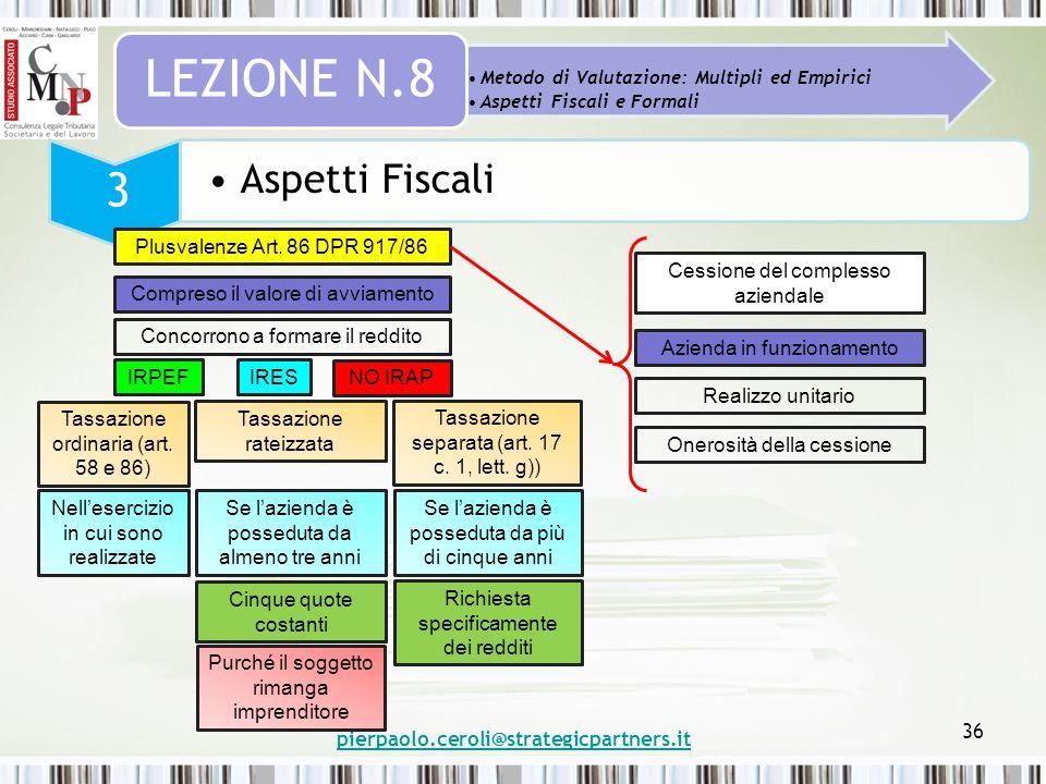 pierpaolo.ceroli@strategicpartners.it 36 Metodo di Valutazione: Multipli ed Empirici Aspetti Fiscali e Formali LEZIONE N.8 3 Aspetti Fiscali Plusvalen