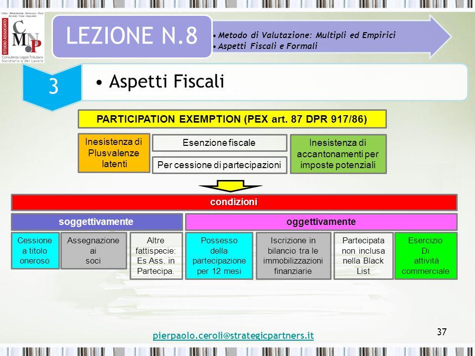pierpaolo.ceroli@strategicpartners.it 37 Metodo di Valutazione: Multipli ed Empirici Aspetti Fiscali e Formali LEZIONE N.8 3 Aspetti Fiscali PARTICIPA
