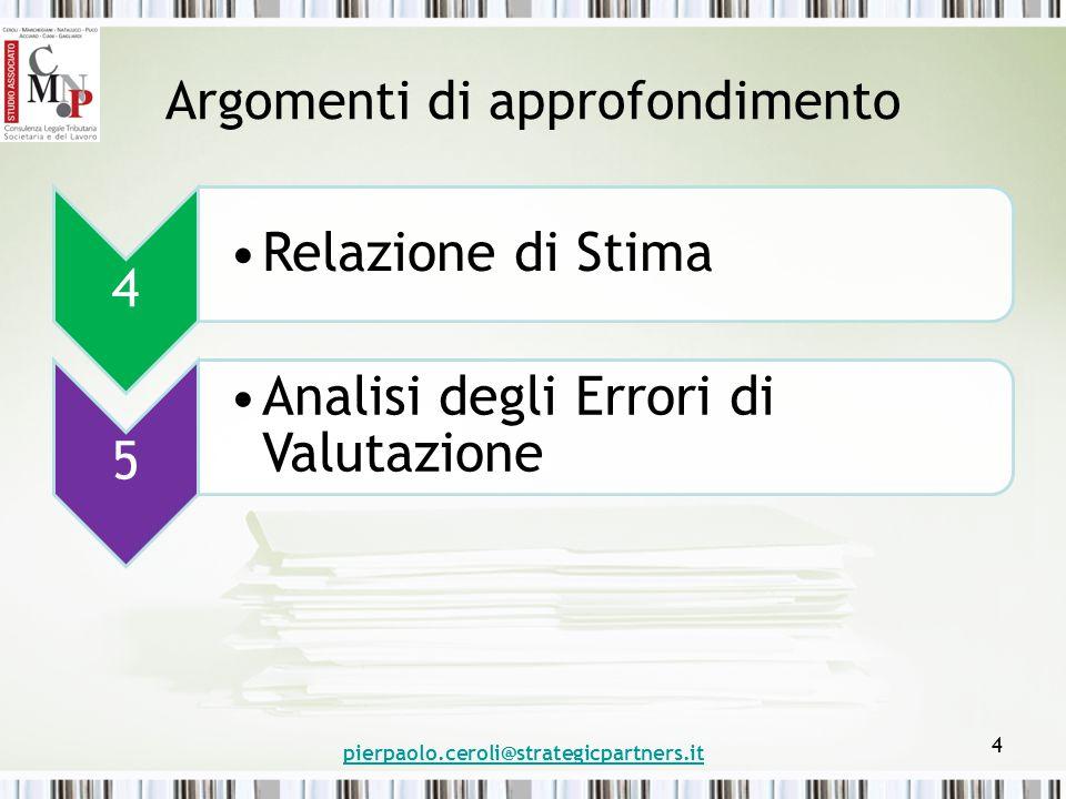 Argomenti di approfondimento 4 Relazione di Stima 5 Analisi degli Errori di Valutazione pierpaolo.ceroli@strategicpartners.it 4